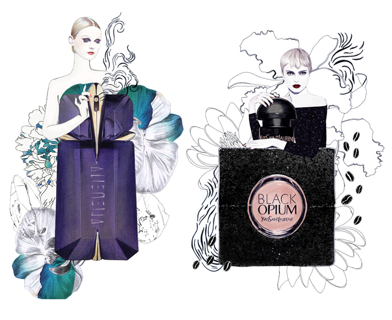 lane-crawford-illustration-coco-mugler-clarins-group-ySL-perfumes-illustration